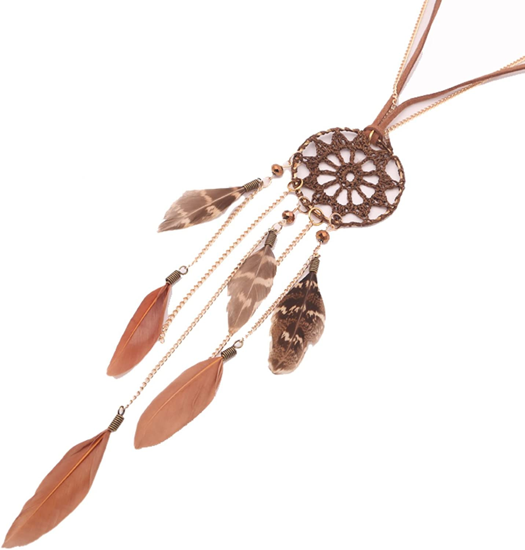 Dream Catcher para mujer, Cadena de joyas de oro de plumas | larga cadena de piel con plumas atrapasueños colgante | Color Marrón Piel indios bisutería con perlas, Regalo para Mujeres, Beyond Dreams