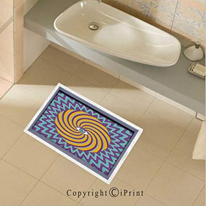 Removable DIY Floor Stickers Decor Third Eye Symbol inside Hypnotic Spiral Circles Trippy Lines Mystic Hippie