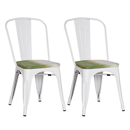 DecentHome Vintage Industrial Metal French Bisto Dining Chairs With Wood  Seat (White, Set Of