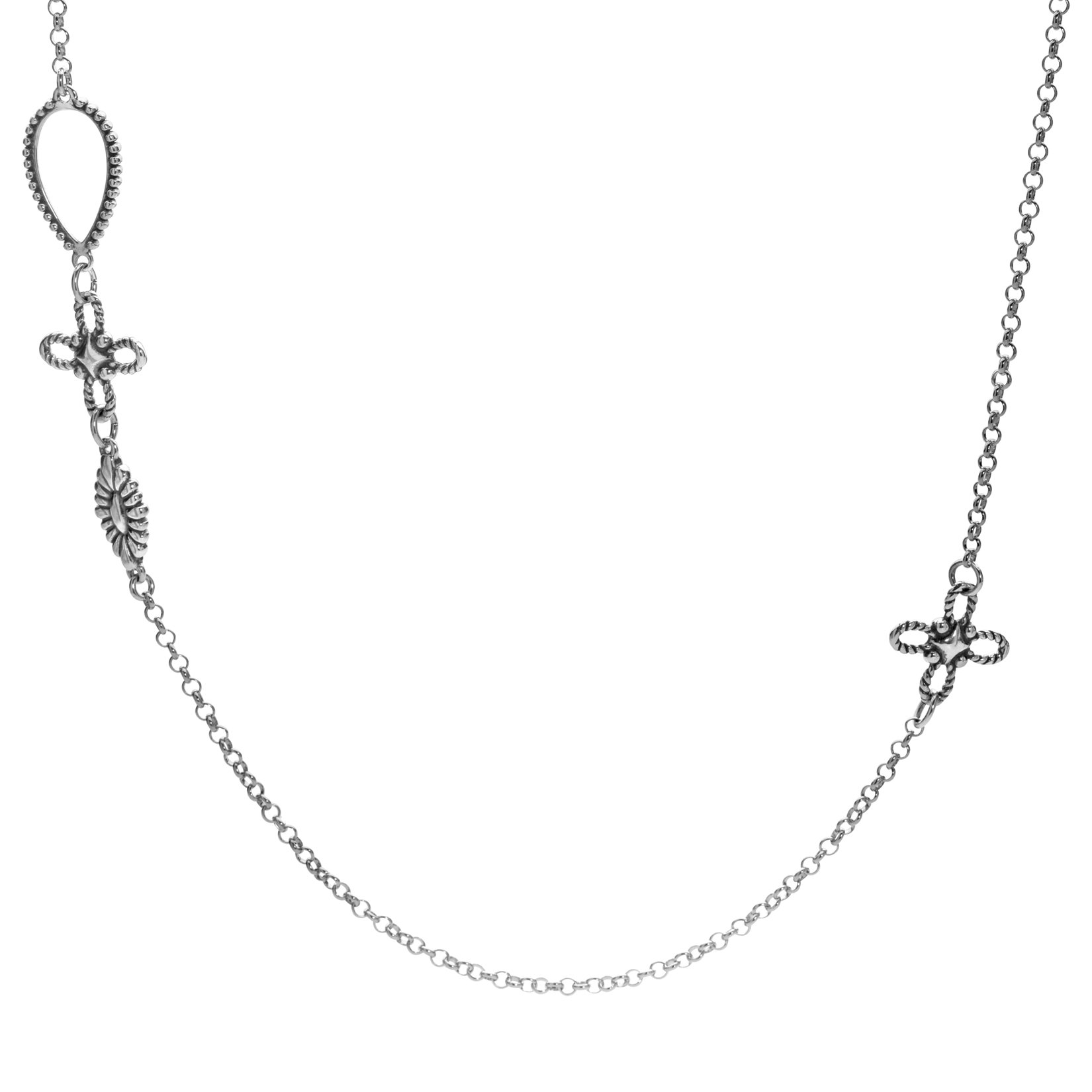 American West Sterling Silver Cross and Concho Station Necklace 32 Inch