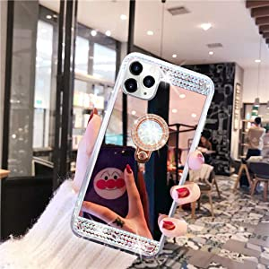 LUVI Fusicase for iPhone 11 Diamond Glitter Case Mirror Makeup Cute for Girls Women Protective Cover with Bling Crystal Rhinestone Ring Holder Finger Grip Stand Kickstand Case for iPhone 11 Rose Gold