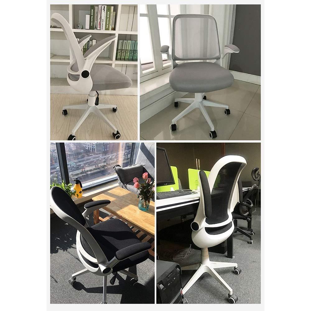 ZZHF vridstol, hushåll ergonomisk dator stol arbetsrum stol kontor vridstol helgoffla, ryggstöd stol (färg: White svart) Orange
