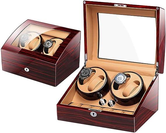 WWL Watch Winder 4+6 Caja Giratoria para 10 Relojes Automáticos 4 Movimiento+ 6 Descanso 4 Opciones De Movimiento Madera De Artesanía A Mano Cerradura Y Llave (Color : E): Amazon.es: Relojes