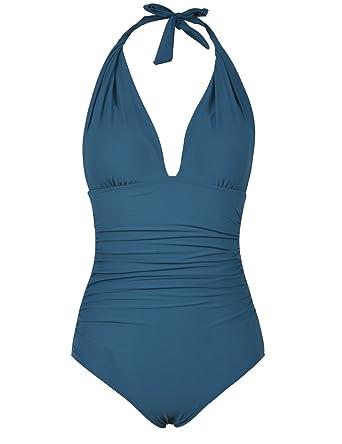 e03890ed55e Hilor Women s Plunge Deep V Neck One Piece Swimsuit Tummy Control Monokinis  Bikinis 4 Aquamarine Blue