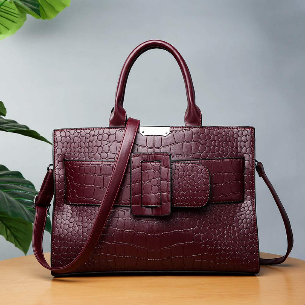 Botoushipeifangxiaomaipu European and American Fashion Crocodile Handbag Temperament Workplace Female Briefcase Hundred Shoulder Bag Color : B