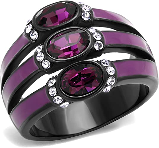Stainless Steel Black Ion Plated Rose Crystal Cross Fashion Ring Women/'s Sz 5-10