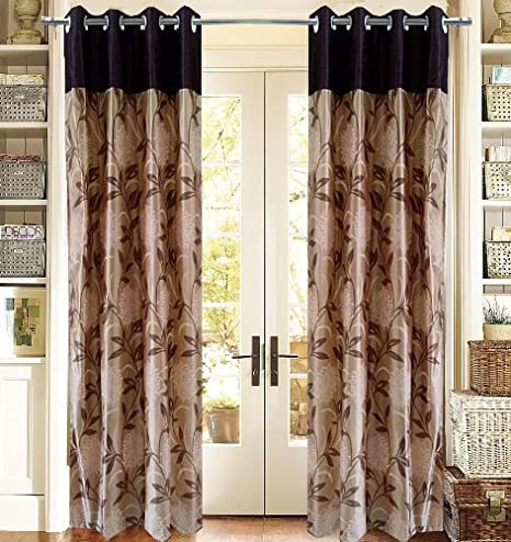 Homefab India Pearl Modern (Pack of 2) Eyelet Polyester Window Curtains (5ft) - Brown Curtains at amazon