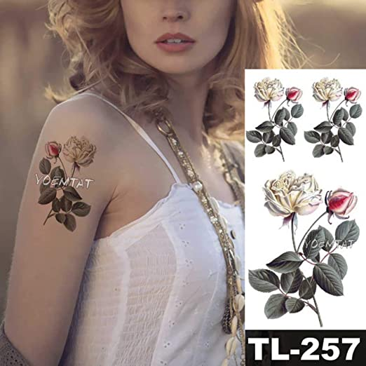 adgkitb 4 Piezas Rosa Oscuro línea Simple Texto Falso Tatuaje ...