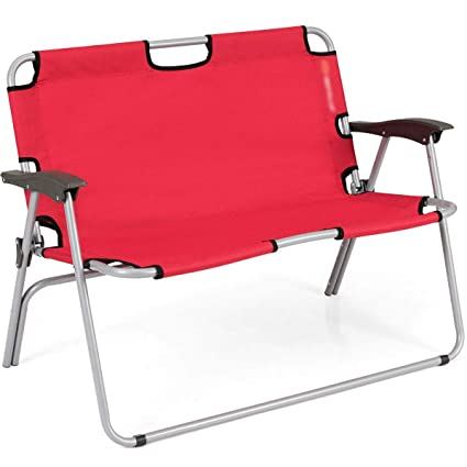 Remarkable Amazon Com Fdinspiration Red 2 Person Seat Folding Outdoor Ibusinesslaw Wood Chair Design Ideas Ibusinesslaworg