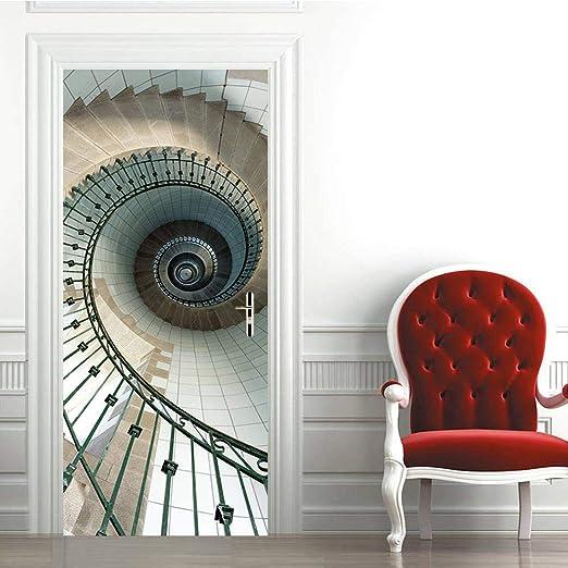 ZDDBD Papel Pintado Puerta 3D PVC Vinilos Murales, Escalera De Caracol Interior Puertas Wallpapers,Pegatinas De Pared Decorativos 90 * 200Cm: Amazon.es: Hogar