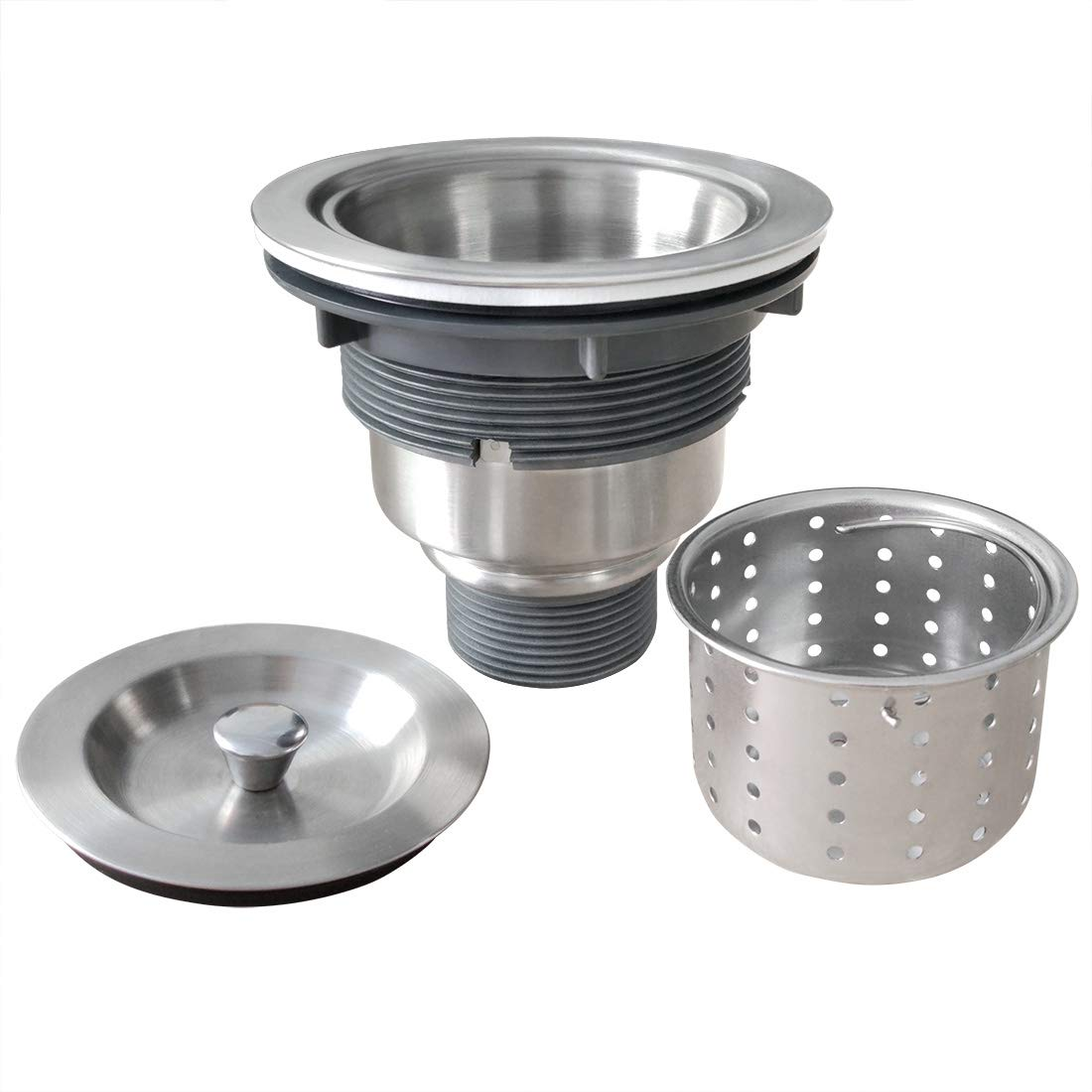 GZILA 3-1/2-Inch Kitchen Sink Strainer with Deep Waste Basket/Strainer Assembly/Sealing Lid, 304 Brushed Nickel Stainless Steel