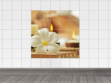 Piastrelle adesivo piastrelle immagine lumini con frangipani fiore