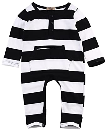 a3fa29317b55 Infant Baby Boy One Piece Long Sleeve Striped Romper Jumpsuit (0-6 Month