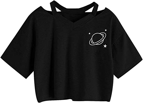 Coromose Women Casual Crop V-Neck Tops Rose Printed Short Sleeve T-Shirt Blouses
