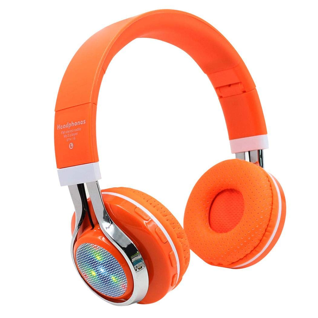 Sonmer STN-18 Wireless Bluetooth 4.1 Noise Cancelling Stereo Foldable Over Ear Headphone,for Iphone Android Smartphone Tablet PC,With Microphone FM Function (Orange)