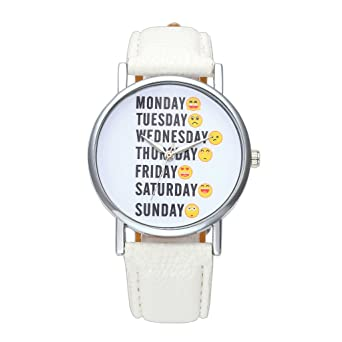 jsdde Relojes, Fashion Inglés Semana Emoticon Reloj de Pulsera No ...