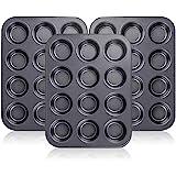Kingrol 12-Cup Muffin & Cupcake Pans, Set of 3, Non-stick Bakeware, Standard