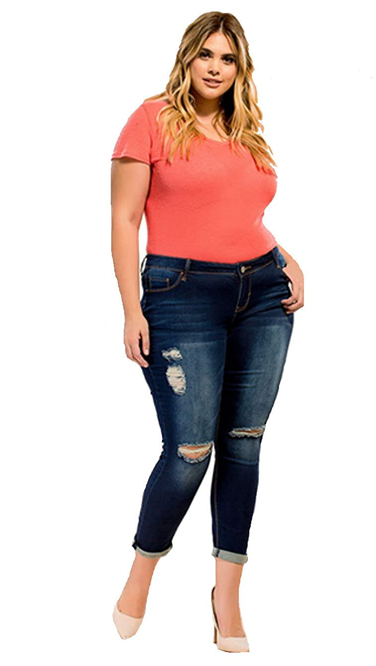 95ef83cf88fbc Amazon.com  YMI Juniors Plus Size Luxe Rip Tear Destructed Cuffed Anklet  Jeans (20