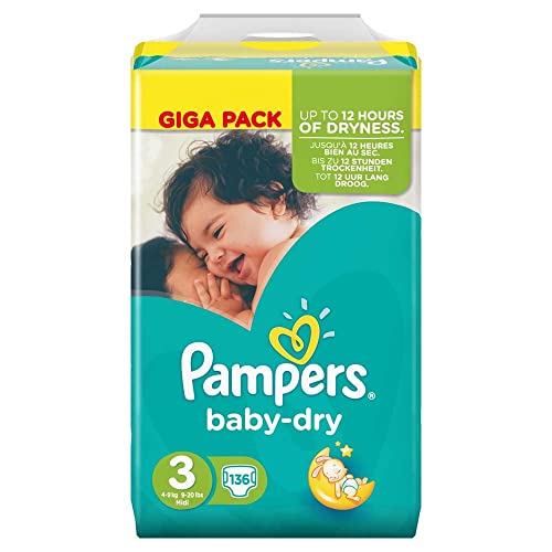 Pampers Baby Dry Size 3 9 20 Lbs 4 9 Kg Nappies Giga