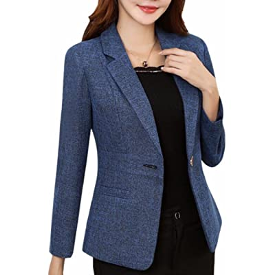 WSPLYSPJY Women's Plus Size Cotton Long Sleeve Classic Short Blazer Suit Jacket