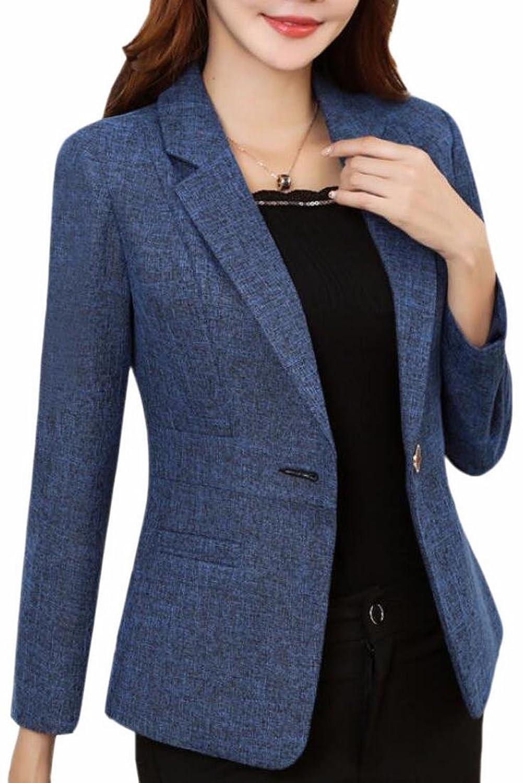 WSPLYSPJY Women's Plus Size Cotton Long Sleeve Classic Short Blazer Suit Jacket