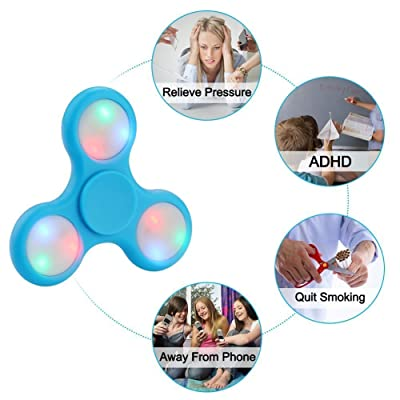 PrimeTrendz TM LED Light Hand Spinner with Switch Plastic EDC Hand Spinner For Autism and ADHD Relief Focus Anxiety Stress Toys Gift ( Light Blue): Toys & Games