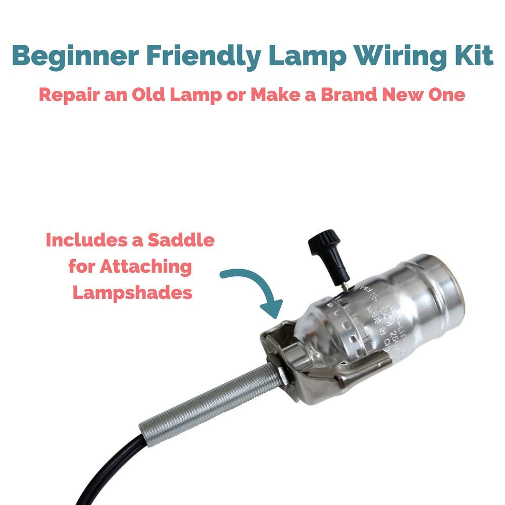 Lamp Wiring Kit Beginner Friendly Making For And Diy How To Rewire An Old Repairing Lamps Nickel Silver Socket 8 Foot Long Black Cord Build Your Own