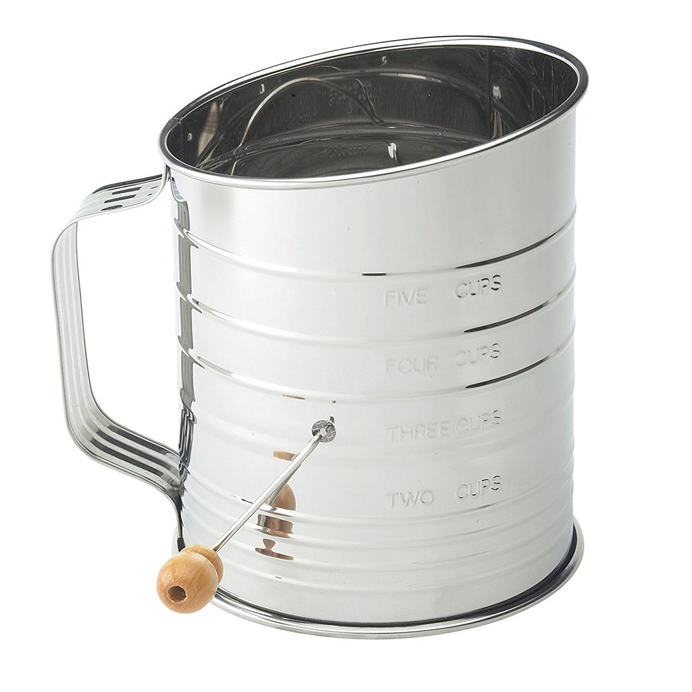 Flour Sifter - Hand Crank Traditional Flour Sifter Stainless Steel 5Cup