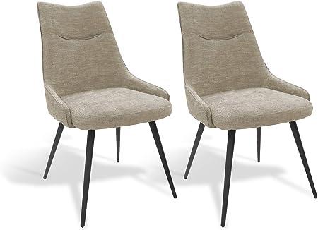 Meubletmoi Lot de 2 chaises Tissu Beige et Pieds métal Noir