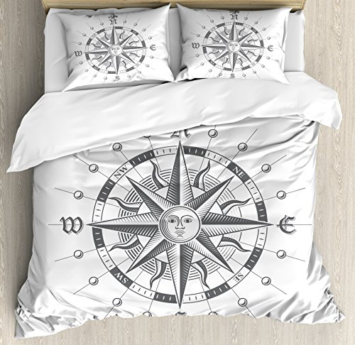 Compass Quilt (Ambesonne Compass Duvet Cover Set Queen Size, Hand Drawn Compass with the Face of the Sun on Directions North South East West Sailing, Decorative 3 Piece Bedding Set with 2 Pillow Shams, Grey)