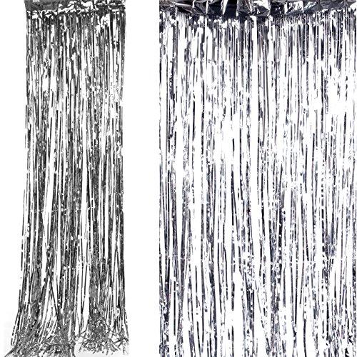 Shimmer Foil Glitter Metallic Backdrop Tinsel Curtain Fringe Wedding Party Decoration (Silver)