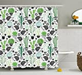 Cactus Decor Shower Curtain by Ambesonne, Cartoon Inspired Drawing of Cute Hedgehog Animals Saguaro and Prickly Pear, Fabric Bathroom Decor Set with Hooks, 75 Inches Long, Multicolor