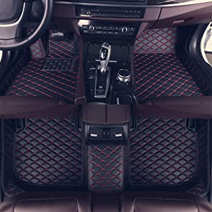 8X-SPEED Custom Car Floor Mats for BMW X5M E70 2010-2014 2011 2012 2013 Full Coverage All Weather Protection Waterproof Non-Slip Leather Liner Set Black red
