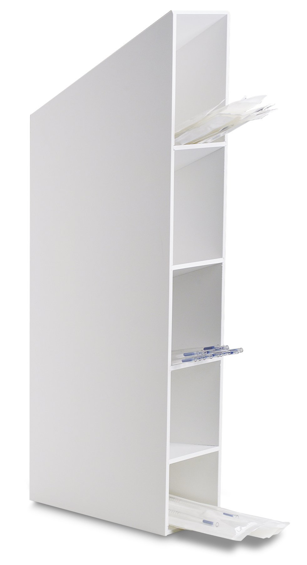 TrippNT 50913 Clear Acrylic Hood or Wall Mount Pipette Storage Bin with Mounting Magnet, 5'' Width x 27'' Height x 10'' Depth (Shown in White)