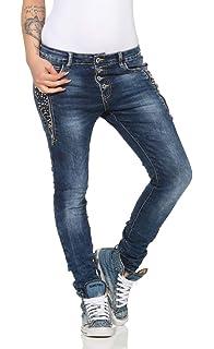 4518 LEXXURY Damen Jeans Röhrenjeans Hose Boyfriend Baggy Haremscut Damenjeans