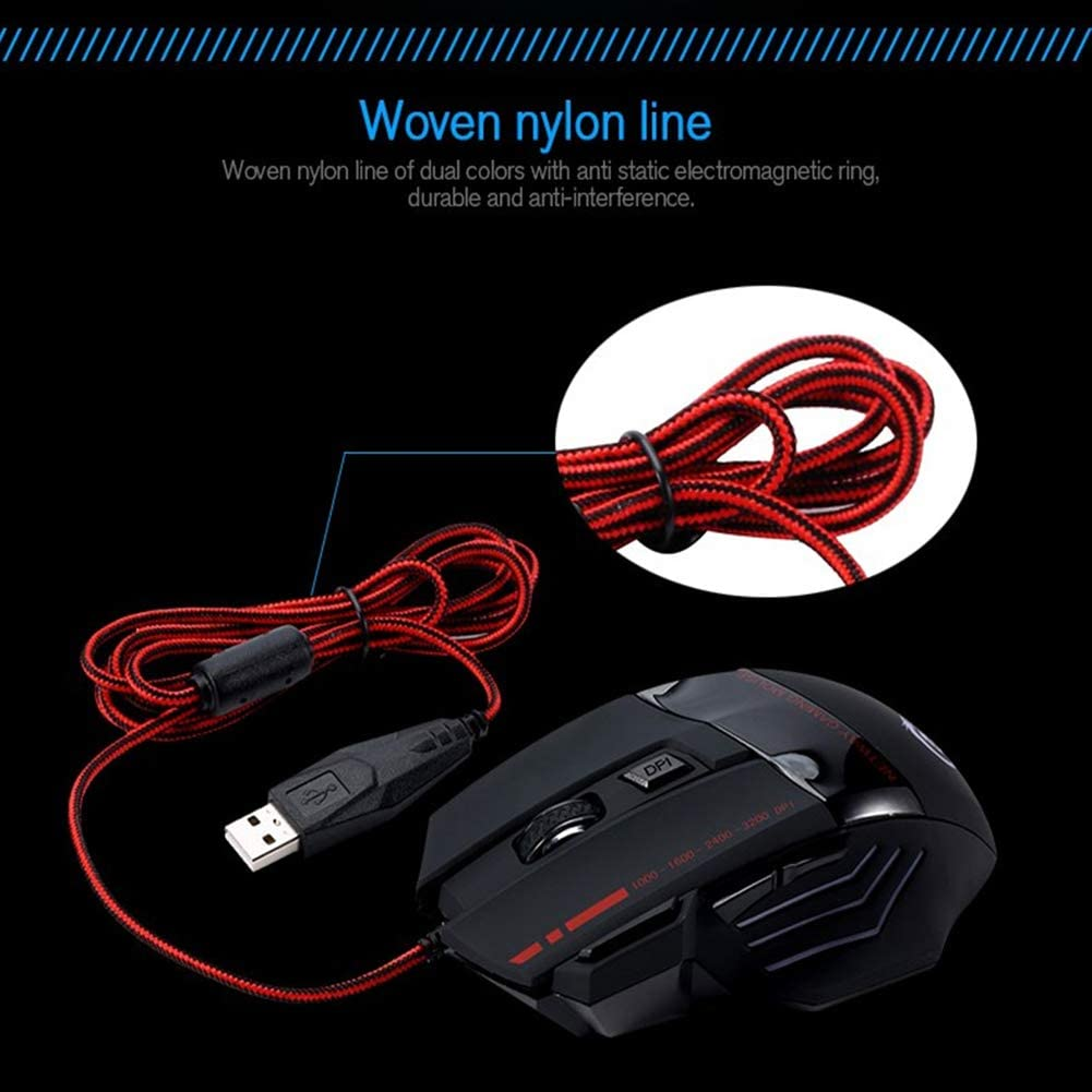 FFQNG Wired Gaming Mouse 5500 DPI 7 Buttons,Optical Mouse Set Non-Slip Design with LED Button for Laptop PC Computer Gamer