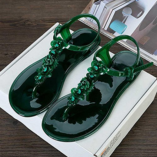 Malloom® Frauen Flip Flops Strand Sandalen Mode Bling Hausschuhe Sommer Frauen Flach Lässige Einfache Blumen Sandalen Grün