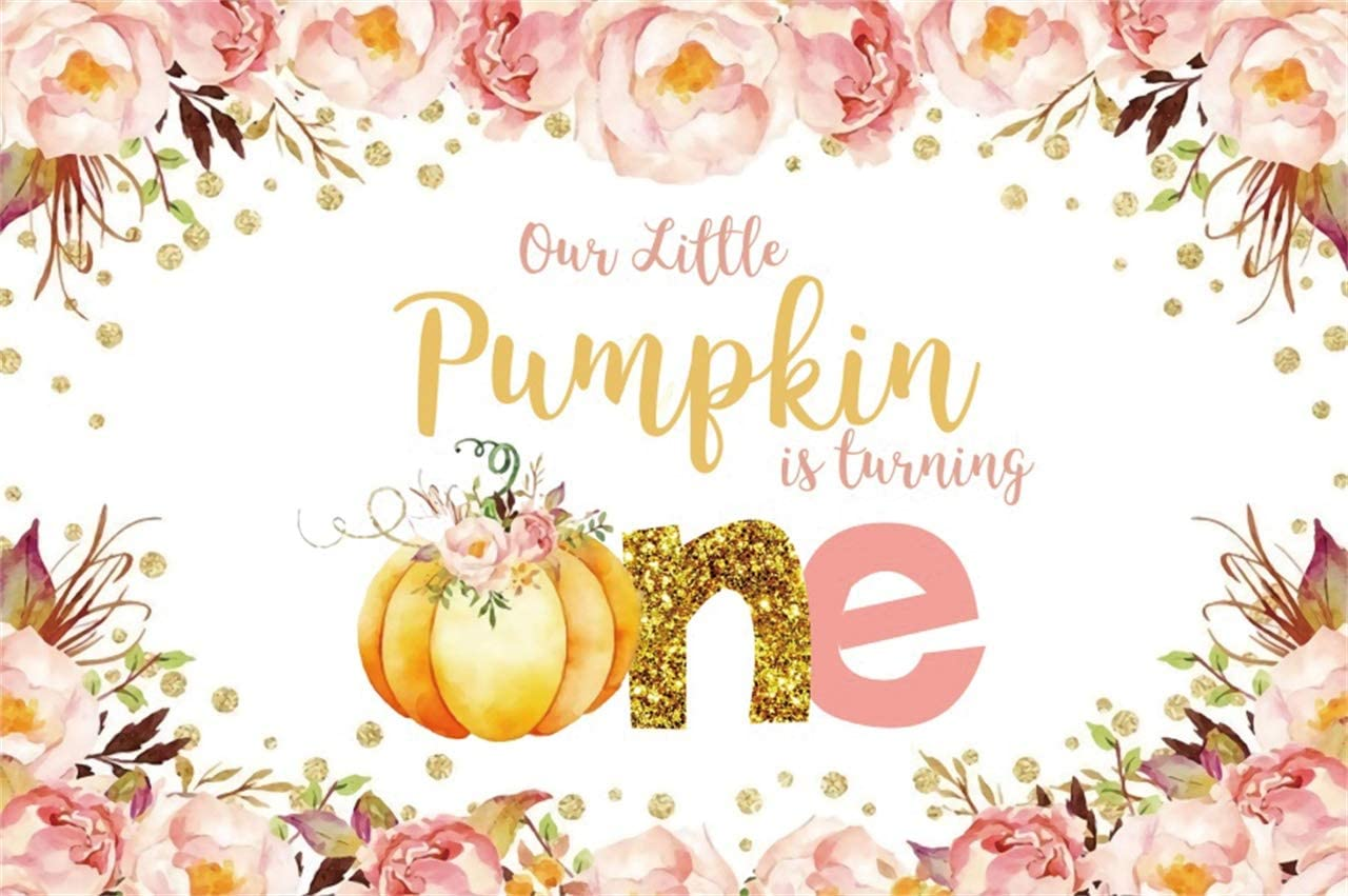 YEELE Little Pumpkin is Turning One Backdrop 10x6.5ft Girl 1st First Birthday Party Photography Background Autumn Harvest Cake Table Decor Thanksgiving Day Photo Booth Shoot Props Vinyl Wallpaper