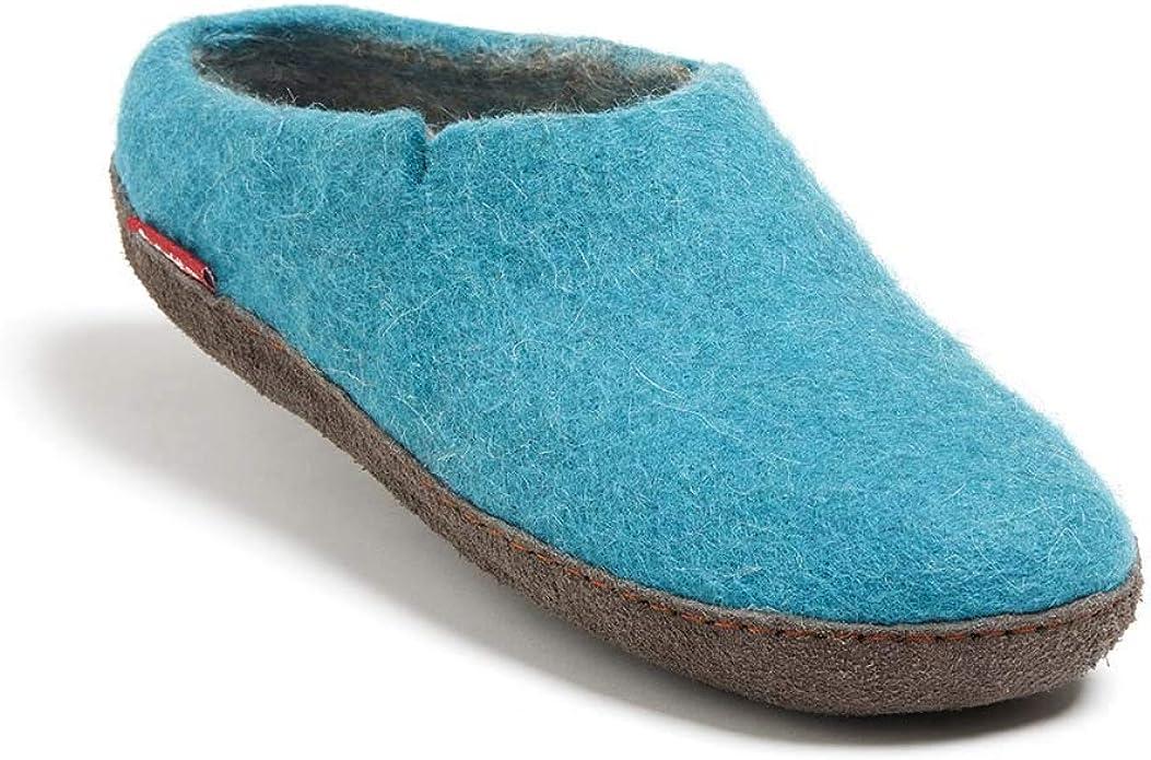Betterfelt Handgefilzte Wollene Hausschuhe für Damen und Herren Natürliche Wolle Gummisohle Größe 37 Hell Blau Klassische Filzpantoffeln