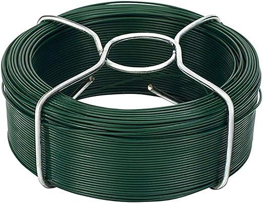 Amagabeli 6 x 50M Rollo de Alambre Recubierto Ø 1.15 mm Alambre de Jardín Esgrima Alambre Inoxidable de PVC Verde WR8: Amazon.es: Jardín