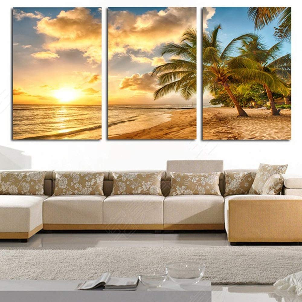 LJFYXZ Artwork For Walls Beach seascape Background decoration HD picture Bedroom living room Art poster Decorative paintings print Stretched And Framed color : A, Size : 90X50cm