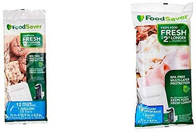FoodSaver 18 Small Appliances Quart-sized Vacuum Zipper Bags And 12 Gallon-sized