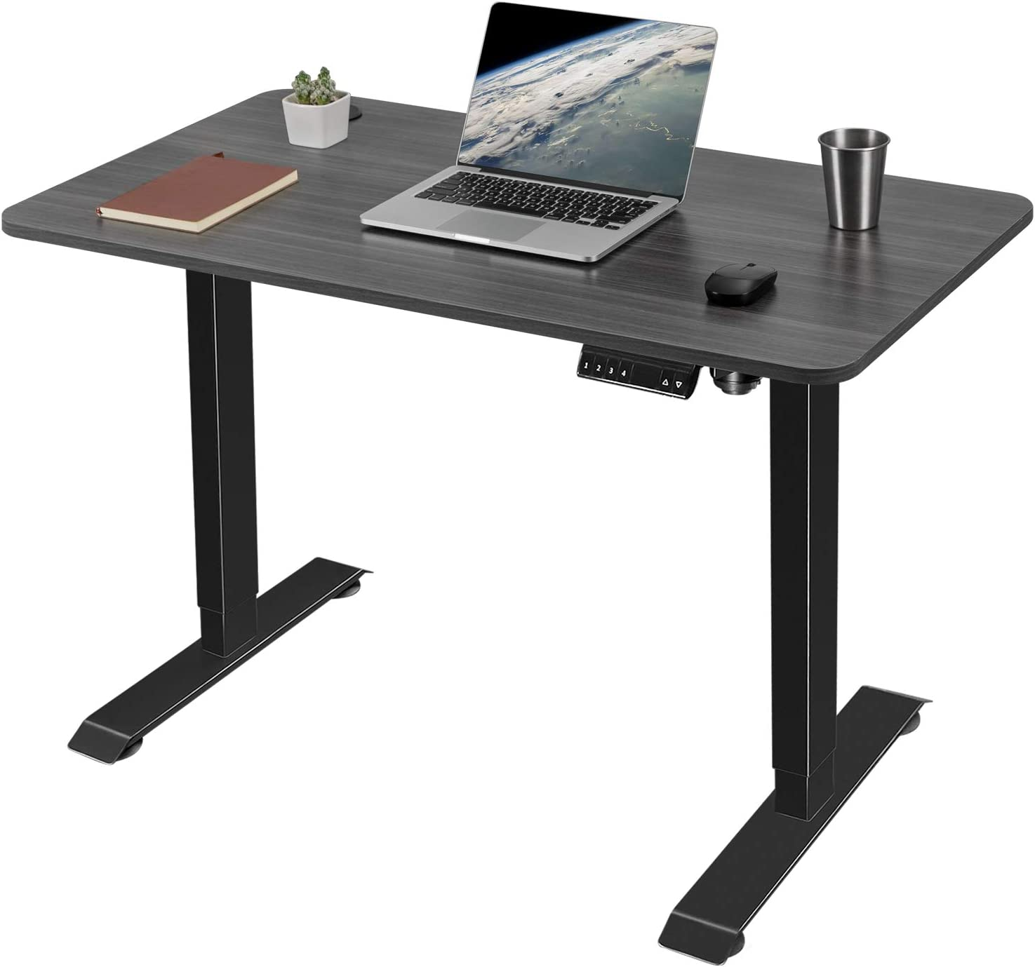 Greesum Electric Height Adjustable Home Office Standing Desk, Modern Design 43-Inch Computer Table for Healthy Working, Gray