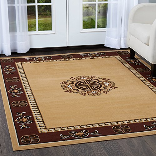 Home Dynamix 7114-101 Sultan Transitional Area Rug 5x7 Sand/Red