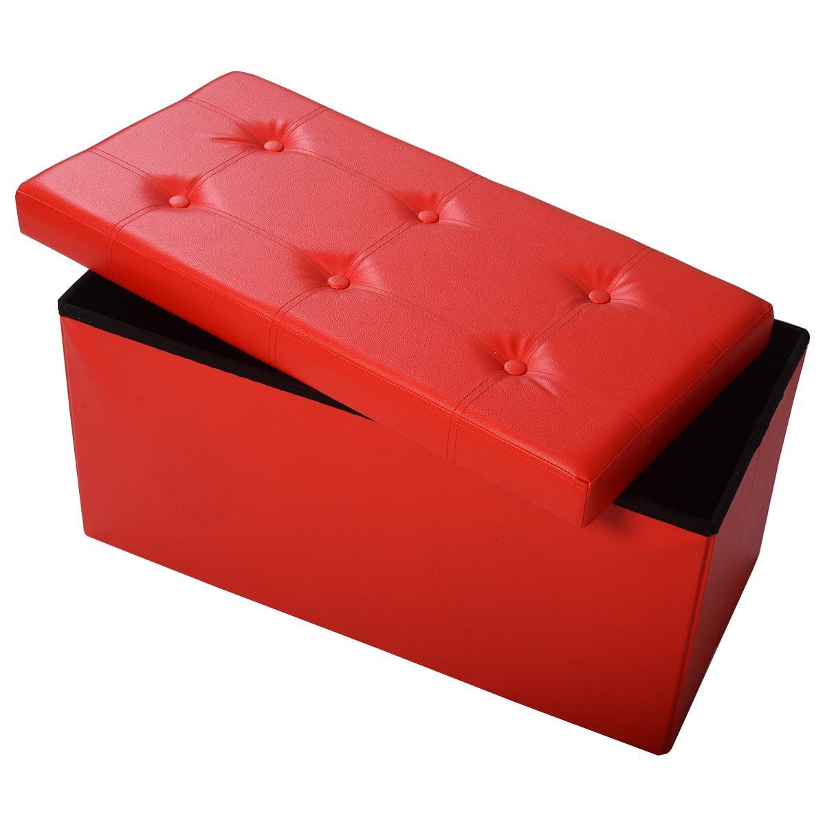 Giantex 30 L Folding Storage Ottoman Bench, Foldable Faux Leather Pouffe Box Stool Coffee Table Footrest for Hallway,Living Room, Bedroom Red