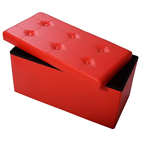Phenomenal Giantex 30 L Folding Storage Ottoman Bench Foldable Faux Leather Pouffe Box Stool Coffee Table Footrest For Hallway Living Room Bedroom Red Inzonedesignstudio Interior Chair Design Inzonedesignstudiocom