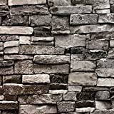 Blooming Wall 5705 3d Faux Brick Stone Wall Mural Wallpaper for Bathroom Kitchen Livingroom Bedroom,Large Size,57 Square ft/roll,Cyan