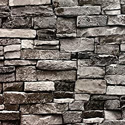 Blooming Wall Faux 3d Stone Brick Wall Mural 3d Wallpaper Vinyl for Livingroom Bedroom, 20.8 In32.8 Ft=57 Sq.ft. (5705)