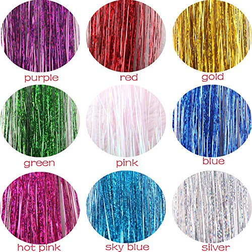 Fullfun Hair Tinsel Glitter Extensions Highlights Party Wig (White) (Party Wig Tinsel)