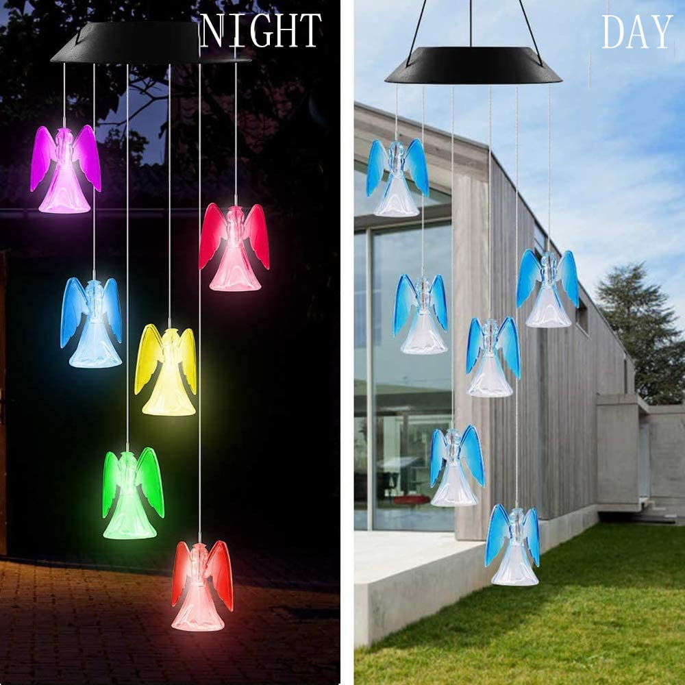 VEEKI Solar LED Wind Chimes Outdoor Color-Changing Waterproof Mobile Wind Chime Hanging Solar Powered Wind Chimes Lights for Outdoor Garden Corridor Decoration (Angel 1 Pack)